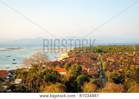 View Over Nusa Lembongan Village And Bay, Indonesia