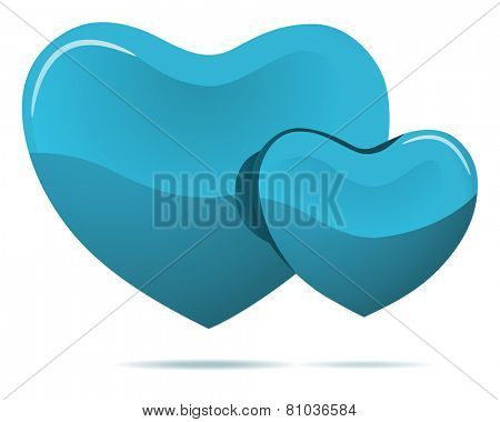 Two cyan hearts isolated on white vector illustration.