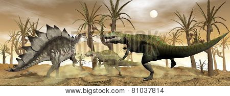 Allosaurus and stegosaurus dinosaurs fight - 3D render