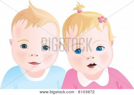 Cute babies - boy and girl
