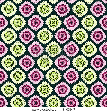 Pink and green abstract flowers