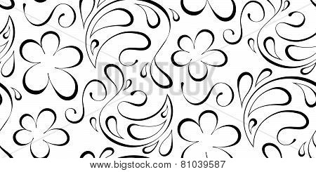 Floral Seamless Background. Black Pattern On A White Background