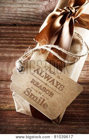 There Is Always A Reason To Smile Message Card On Earth Tone Gift Box