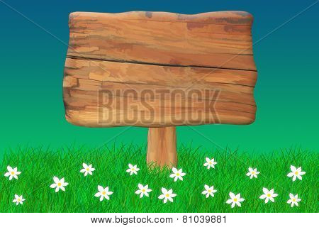 Wooden Sign Surrounded By Grass