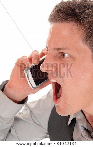 Man Screaming In Cell Phone.