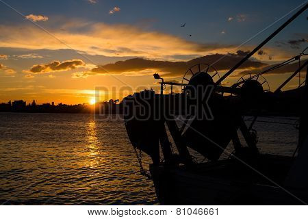Trawler At Sunset