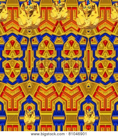 Colorful background with unique patterns and Egyptian motif.
