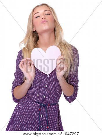 Portrait of pretty woman in love, sexy female with heart-shaped greeting card isolated on white background, air kiss, Valentine day celebrations