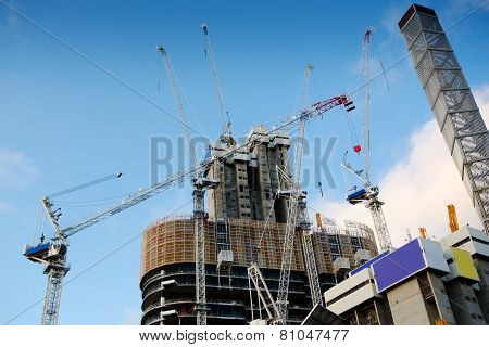 Highrise Construction Site with cloudy blue sky