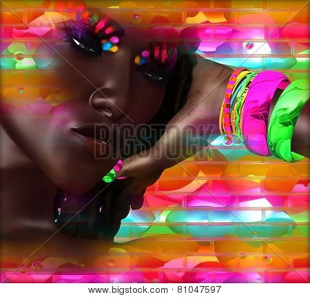 Abstract digital art image of a woman's face close up