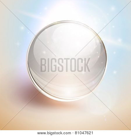 Abstract background with 3D glass sphere, ball transparent with lens flares, vector.