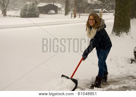 Shoveling Snow Happy