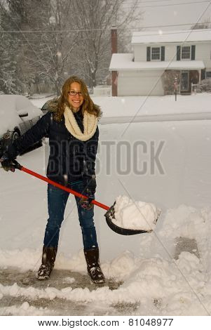 Shoveling Snow Portrait Smiling