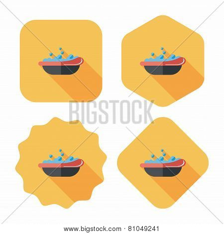 Baby Bath Flat Icon With Long Shadow,eps10