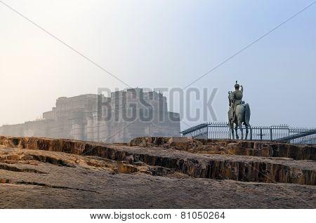 Rao Jodha Statue And Mehrangarh Fort In Jodhpur, India