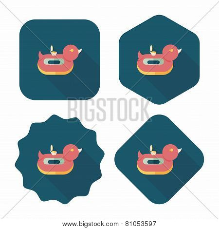 Duck  Swim Ring Flat Icon With Long Shadow,eps10