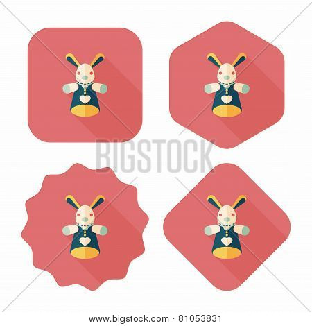 Rabbit Hand Puppet Flat Icon With Long Shadow,eps10