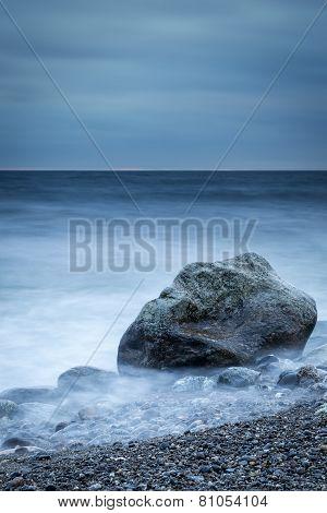 Vertical dark coastal shoreline