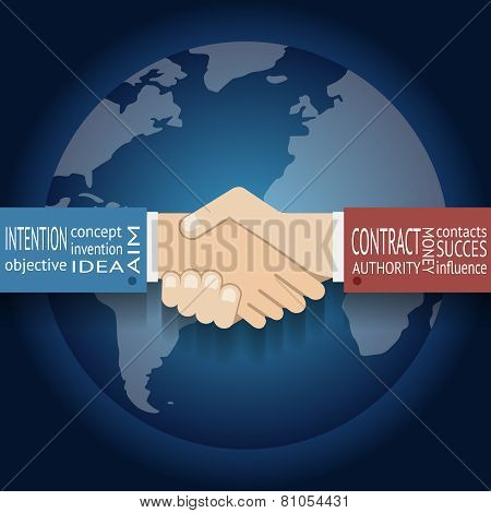 International Partnership Icon Businessman Handshake Symbol on Globe World Map Background Flat Desig