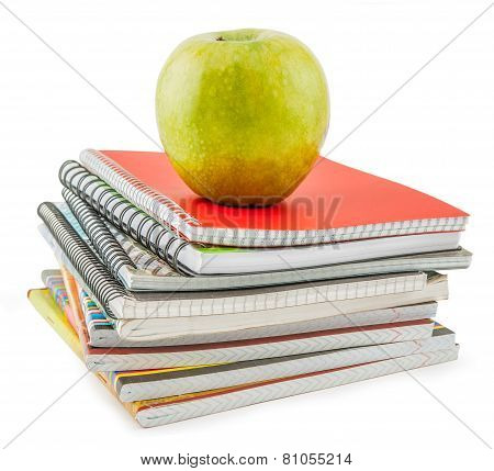 Notebook Stack And Apple. Schoolchild And Student Studies Accessories. Back To School Concept.