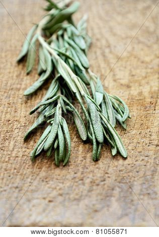 Sprigs Of Rosemary On A Wooden Board Closeup Vertical Low Angle View
