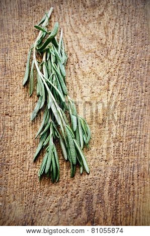 Sprigs Of Rosemary On A Wooden Board Top View Vertical