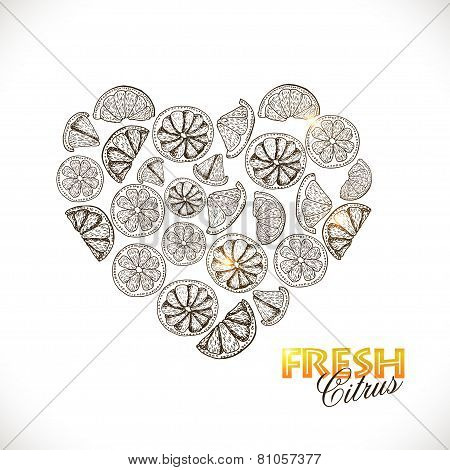 Isolated Heart Of Citrus On White Background