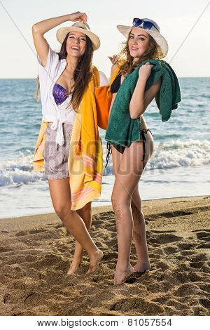 Girls In Summer Clothing At The Beach