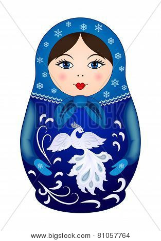 Matryoshka doll in winter style
