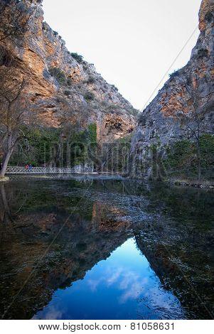Reflections In The Lake At Monasterio De Piedra, Zaragoza, Aragon, Spain