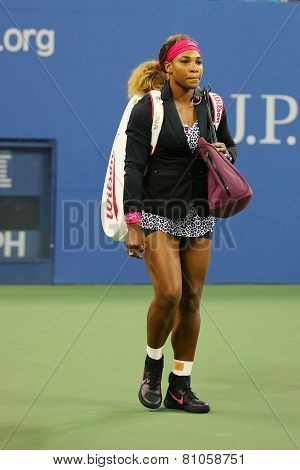 Grand Slam champion Serena Williams entering stadium before first round match at US Open 2014