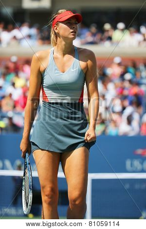 Five times Grand Slam champion Mariya Sharapova during third round match at US Open 2014