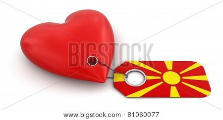 Heart with Macedonian flag (clipping path included)