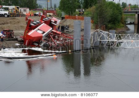 Bridge Construction Crane Topples into River