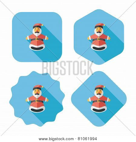 Santa Claus Hand Puppet Flat Icon With Long Shadow,eps10