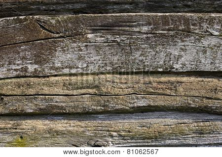 Wooden Wall Of The Old Log House