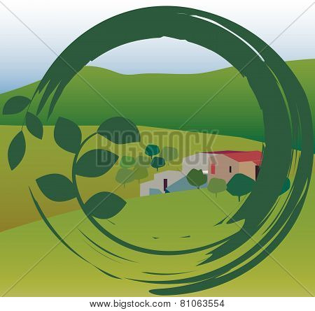 Landscape With House In The Round Frame