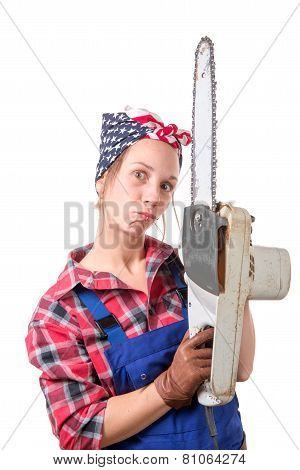 Vintage Pretty Young Woman With A Chainsaw