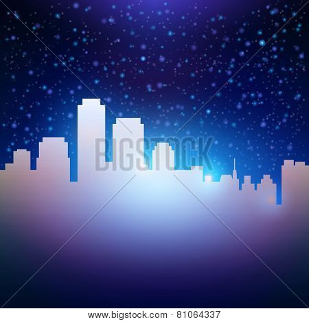 Night City Sky With Stars Background