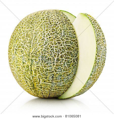 Ripe Melon With Slice Isolated On White