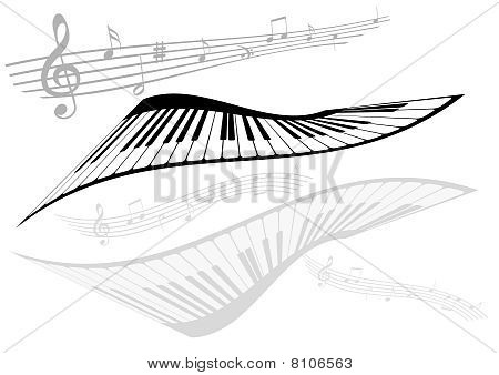 Abstract illustration of two pianos and two stave