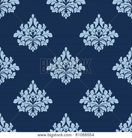 Foliage seamless pattern with blue damask tracery