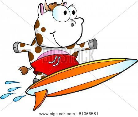 Tough Surfing Cow Vector Illustration Art