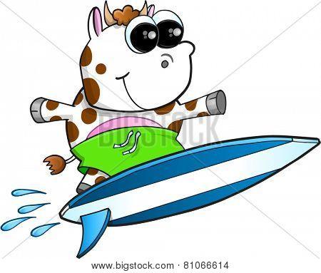 Happy Surfing Cow Vector Illustration Art