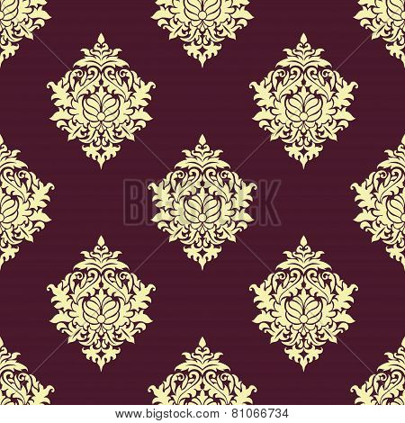 Seamless oriental pattern with lush flowers