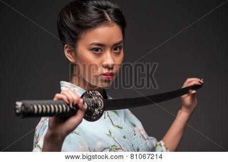 Japanese woman with katana