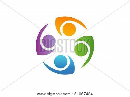 Global Team Work Logo Team People Abstract Symbol Design