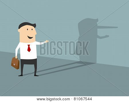 Lying businessman in flat cartoon style