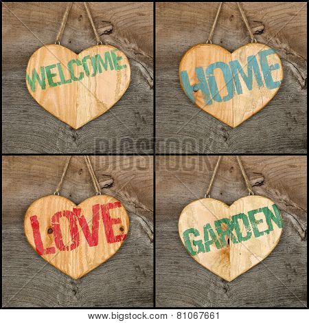 Set Collage Welcome Love Garden Home Message Wooden Heart Signs