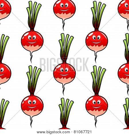 Seamless cartoon radish vegetable background